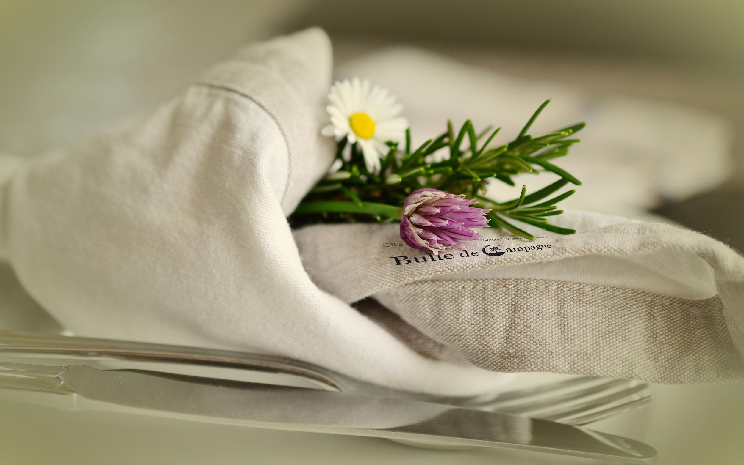 Logo Bulle de Campagne sur une serviette de table